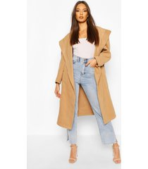 extreme oversized hooded wool look coat, camel