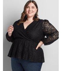 lane bryant women's surplice peplum blouse 18/20 black