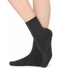 calzedonia - short cotton thermal socks, one size, grey, women