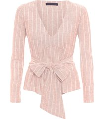 camisa feminina transpassada decote v - rosa
