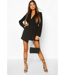 collarless double breasted blazer dress, black