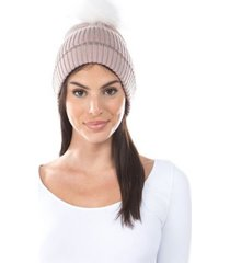 women's lurex cuff faux fur pom hat