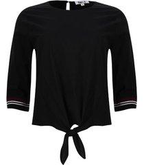 blusa unicolor con tiras tejidas color negro, talla 6