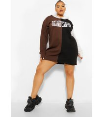 plus colour block sweatshirt jurk met tekst en capuchon, black