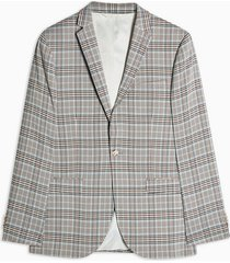 mens stone check skinny fit single breasted suit blazer with notch lapels