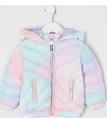 river island mini girls white tie dye padded hood jacket