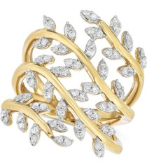 diamond leaf ring (1/2 ct. t.w.) in 14k gold-plated sterling silver
