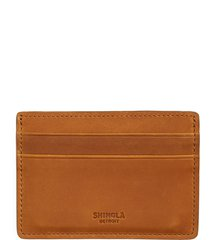 men's shinola leather card case - brown
