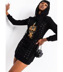 akira talk to the hand lace up sweatshirt dress