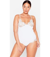 womens lacey in love plus ribbed bodysuit - white