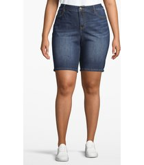 lane bryant women's venezia bermuda denim short 24 dark wash