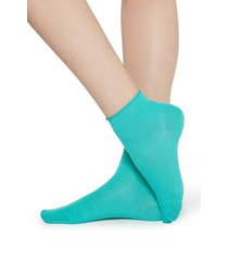 calzedonia extra short flat-knit bandless cotton socks woman blue size tu