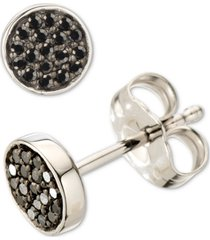 elsie may black diamond cluster stud earrings (1/10 ct. t.w.) in sterling silver