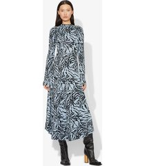 proenza schouler zebra jacquard long sleeve dress pale blue/black m