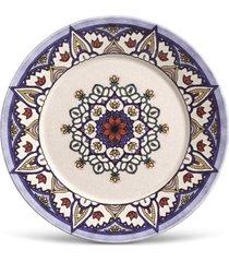 conjunto 6pã§s pratos rasos porto brasil mã´naco sofia branco/azul-marinho - branco - dafiti