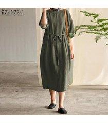 zanzea mujeres más llano básico kaftan volver cinturón de lazo vestido a media pierna de algodón -ejercito verde