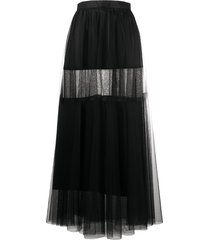 atu body couture tulle layered maxi skirt - black
