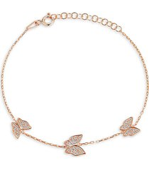 chloe & madison women's 14k rose gold vermeil & cubic zirconia butterfly station bracelet