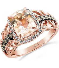 chocolatier® 14k strawberry gold®, peach morganite™, chocolate diamond® & vanilla diamond® ring