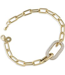 cz by kenneth jay lane women's look of real 14k goldplated & crystal link bracelet