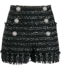 balmain tweed double-breasted shorts - black