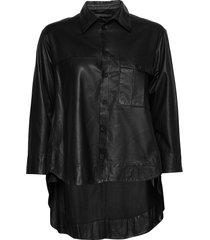maria thin leather shirt långärmad skjorta svart mdk / munderingskompagniet
