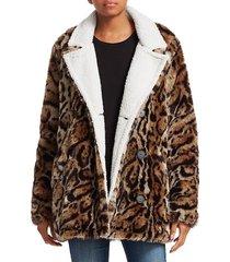 n:philanthropy women's night moves tiger-print faux fur coat - leopard - size s