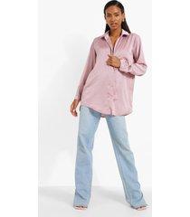 oversized satijnen blouse met zak detail, rose