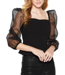 bcbgeneration sheer spotted sleeve top