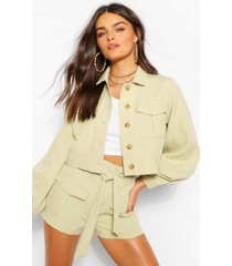 geweven utility blouse met knopen en shorts set, salie