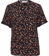 top in hibiscus print blouses short-sleeved brun coster copenhagen