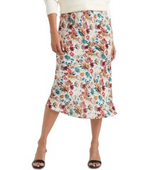 lucky brand willa floral-print pull-on skirt