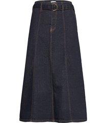 dhtenna denim skirt lång kjol blå denim hunter