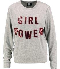 catwalk zachte grijze velours sweater met pailletten