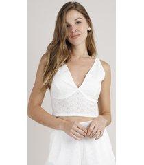 top cropped feminino em laise decote v alça larga off white