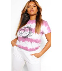 plus tie dye sun and moon t-shirt, berry