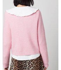ganni women's soft wool knit cardigan - sweet lilac - xs