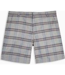 mens grey and burgundy check shorts