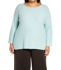 eileen fisher roll neck organic cotton sweater, size 3x in aqua at nordstrom