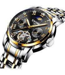 gli uomini di affari guarda tutto l'orologio impermeabile degli uomini impermeabili dell'orologio meccanico automatico della banda d'acciaio