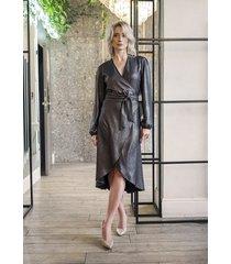 kopertowa sukienka, suk160 czarny z połyskiem