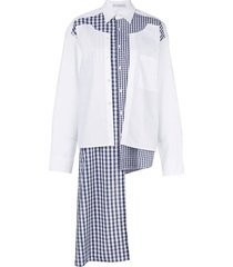 double placket gingham patchwork shirt