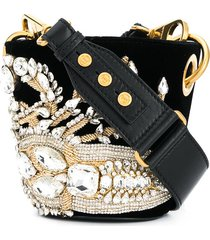 balmain crystal-embellished saddler bucket bag - black