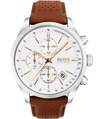 boss hugo boss men's chronograph grand prix brown leather strap watch 44mm 1513475