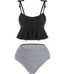 striped tie shoulder peplum tummy control tankini swimwear