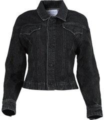 black cinched jean jacket