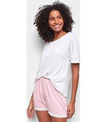 pijama curto hering corações renda feminino - feminino