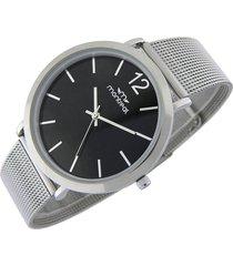 reloj negro montreal acero tejido