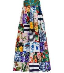 long patchwork cotton poplin skirt