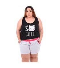 short doll bella fiore modas pijama feminino plus size preto